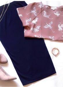High Waist Black Betsy Knit Midi Pencil Skirt